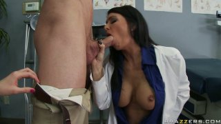 Hungry for cock Jessica Jaymes sucks the dick of a married man in front of his wife Preview Image