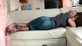 Femdom GILF gives a hot footjob Preview Image