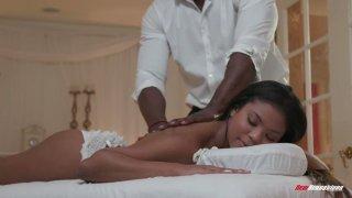 Mandingo fucks beautiful black client Nia Nacci on_the_massage table Preview Image