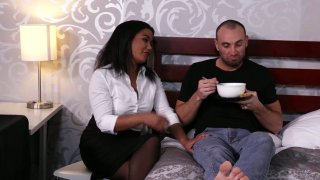 Ebony plump girl Loni Legend gets intimate with her white fellow Preview Image