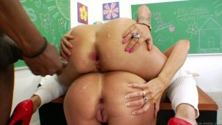 Naughty girls Darla Crane and Britney Stevens are getting a hard anal penetration in the college room Preview Image