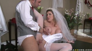 Horny blonde bride Kayla Paige bends_over for_her husband Preview Image