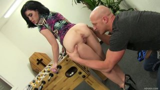 Horny Christian XXX stretches Belle Noire's butt cheeks and thrusts his dick in her tiny mouth Preview Image