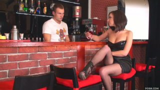 Majestic brunette Ennessi is horny for the sexy bartender Nick Preview Image