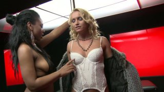 Sensuous blonde wants to have fun with exotic ebony girl Preview Image