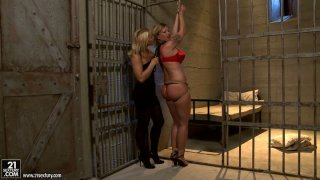 Chubby blonde MILF Pamela gets punished in prison cell by Kathia Nobili Preview Image