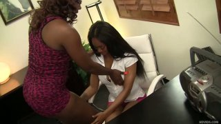 Voluptuous ebony office sluts Evanni_Solei and_Destiny Dymes in lesbo scene Preview Image