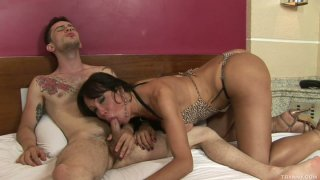 Sexy shemale Kris Alves gives awesome blowjob for anal fingering Preview Image