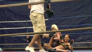 Careless biches Blond Cat and Aspen wrestle on the ring Preview Image