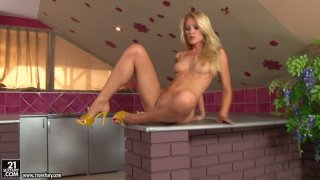 Incredible hot blond bitch_Sophie Moone masturbates on the kitchen table Preview Image