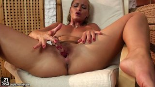 Raunchy blonde slut Kathia_Nobili plays_with her cherry rubbing it with a dildo Preview Image