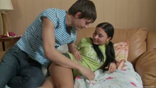 Horny dude Shane seduces teen chick Raine and gets a quality blowjob Preview Image