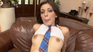Sexy pale skin brunette Nikki Vee fucks black dude Preview Image