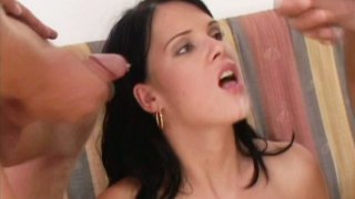 Jennifer Dark blows two cock and gets facial Preview Image
