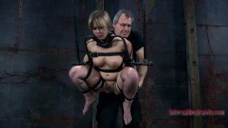 Sasha Knox getting choked, gagged and stretched in the room of BDSM tricks Preview Image