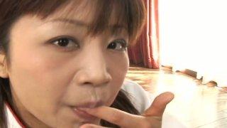 Playful Japanese teen Ami Kitazawa sucks three dicks in turn Preview Image