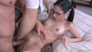 Four eyed girl Tia Cyrus taking part in hot foursome scene Preview Image