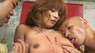 Two horny dude pound Azusa Isshiki in a_hot threesome sex video produced by AvIdolz Preview Image