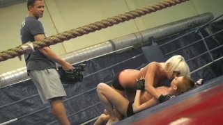Nude wrestler Leyla Peachbloom spins in the ring_while_her twat gets licked Preview Image