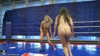 Slutty fighter Diana Stewart goes against brunette and eats her pussy in the ring Preview Image