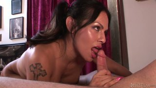 Being totally absorbed with giving a handjob shemale Foxxy wanna win cum Preview Image