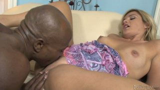 Hungry for cock Jennifer M blows hard black shaft Preview Image