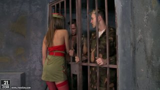Horny army girl Ashley lets two men out for a threesome Preview Image