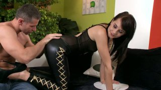 Gothic chick in leather pants Leda gives a blowjob for cum Preview Image