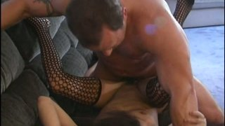 Tight curly haired brunette bitch in fishnet_stockings gets fucked Preview Image