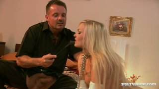 Submissive blonde hooker Nicky Angel eats from the floor Preview Image