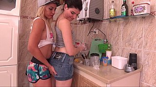 Lesbian gals making out in_the kitchen Preview Image