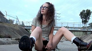 Nerdy girl's upskirt outdoor masturbation Preview Image