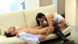 Very Pretty Cheating Brunette Wife Hidden Camera Blowjob Preview Image