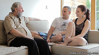 Beautiful girl gets fucked by a horny old man, her boyfriend comes and watches Preview Image