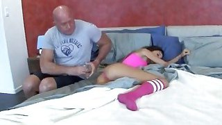 Horny older stepdad sneaks to his teen stepdaughter and starts_to fuck her hard Preview Image