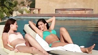 Hot lesbian best friends jump in the pool for some_lesbo fun Preview Image