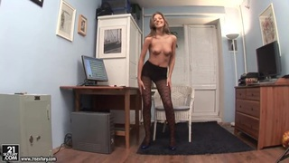 Office girl Inna horny solo action with sexy strip Preview Image