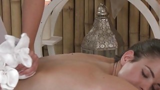 Huge nipples lesbian babe in massage room Preview Image