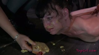 Slutty whore Elise Graves eats shit in BDSM sex video Preview Image