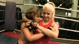 Two chubby cuties Valery Summers and Brandy Smile wrestle Preview Image