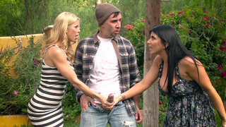 Alexis Fawx and Romi Rain_caught pervy hobo in the park Preview Image