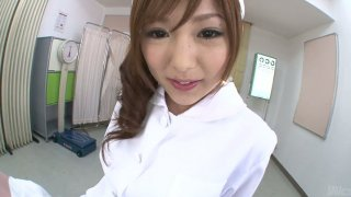 Sultry oriental nurse named Miku Airi gives her jap fucker some head Preview Image