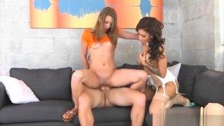 Kirsten Lee And Jamie Valentine Nasty Ffm Threesome Sex Preview Image
