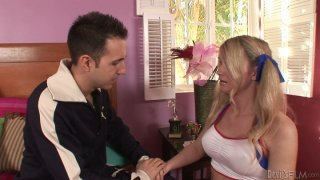 Lewd blonde shemale chick Kelly Shore sucks her stud's pecker Preview Image