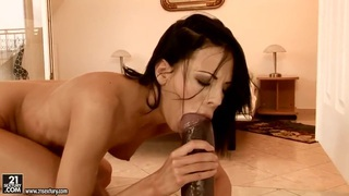 Young curve Liz uses the gigantic black dildo for anal stimulations Preview Image