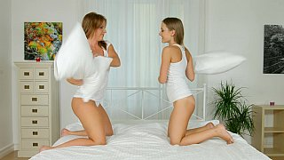 Pillow fight leads to pussy eating Preview Image