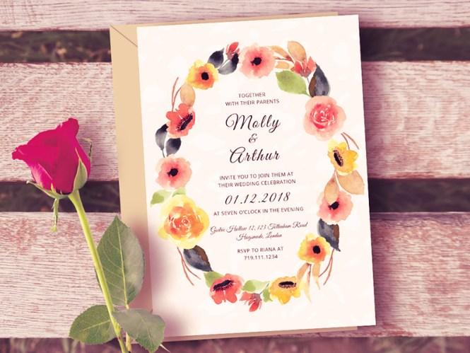 Watercolor Fl Wedding Invitation Template Free Psd