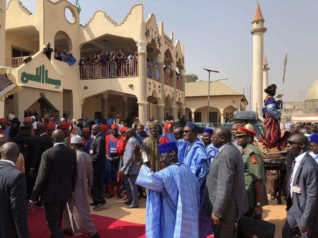 Image result for BREAKING: Buhari arrives Lafia, visits Emir of Lafia