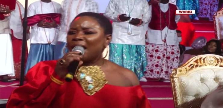 Singer Omawumi performs national anthem at Olu of Warri's coronation