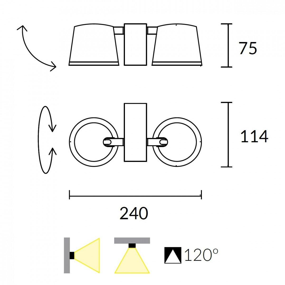 Leds C4 Drone Aplique De Pared Techo Aluminio Blanco Mate